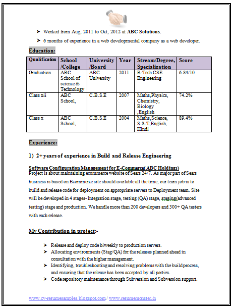 technical resume format for freshers student resume format