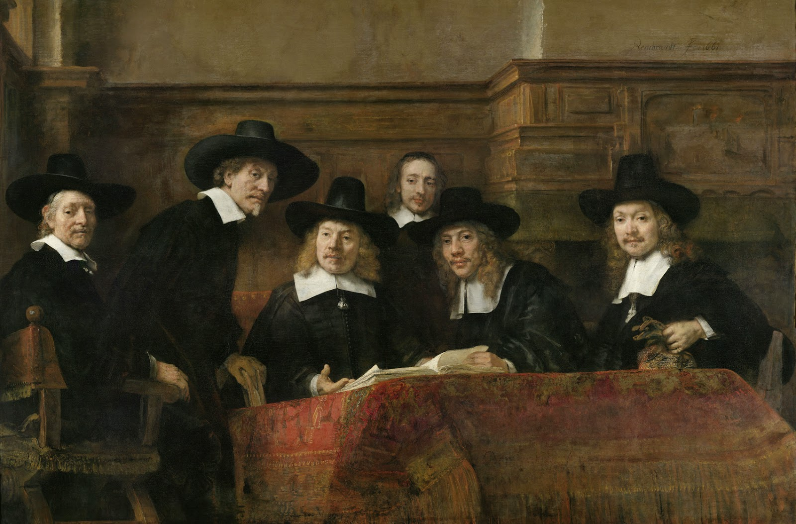 art artists rembrandt part  1662 the wardens of the amsterdam drapers guild known as the syndics oil on canvas 1915 x 279 cm