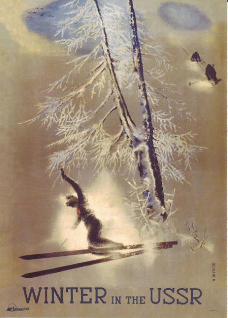 1939 Cartel Soviético de Turismo Vintage, Invierno en la URSS