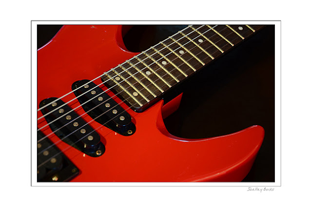 Strong dynamic lines of a red guitar.    Copyright Shelley Banks, all rights reserved.