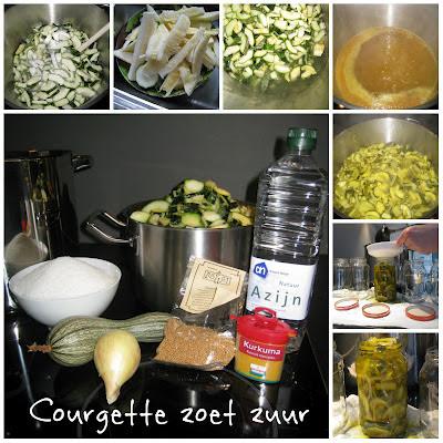 Courgettes zoet zuur inmaken.