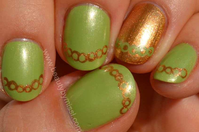 green gold manicure, dots, notd, nails