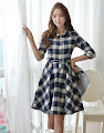 Half Sleeve Blue Checkered Belted Flare Dress