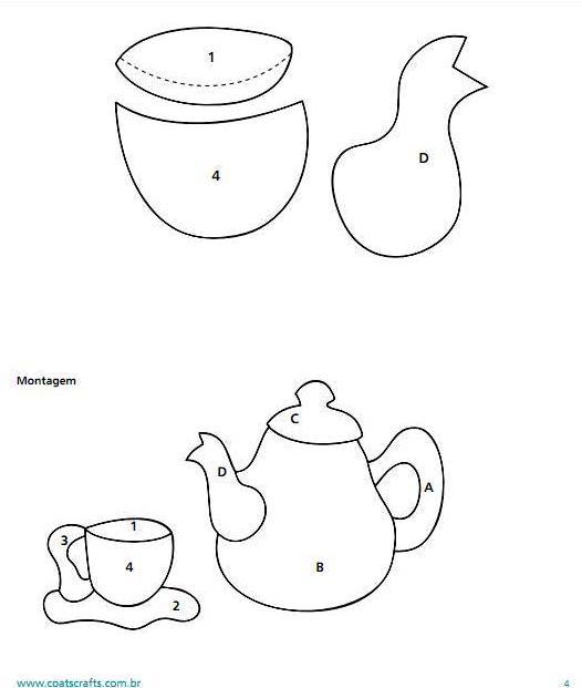 Lindo pano de prato com aplique de jogo de chá