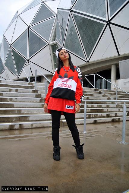 Topshop x Adidas originals jumper red fashion blog australia