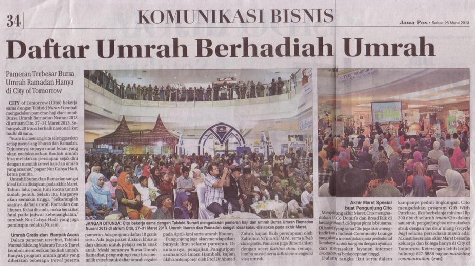 Daftar Umroh Berhadiah Umroh Pameran Haji & Umroh Nurani 2013