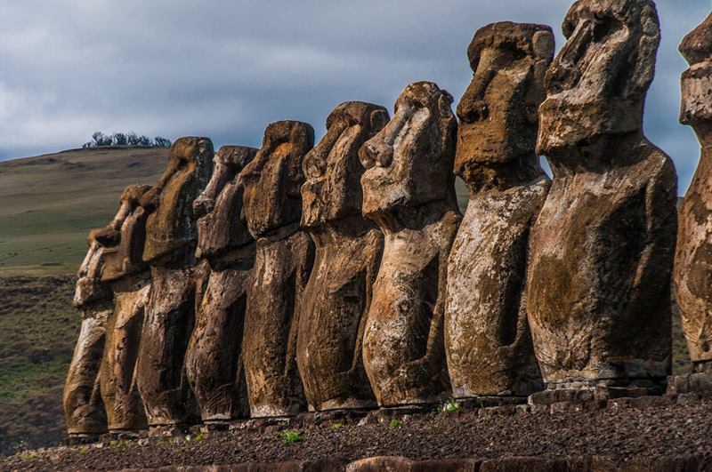 "The Moai, huge sculptures shaped human head, the main tourist attraction of Easter Island. Easter Island has several settlements called Ahu ""Altars"", where a group of more or less numerous Moai meets, but always perfectly organized and looking in the same direction."
