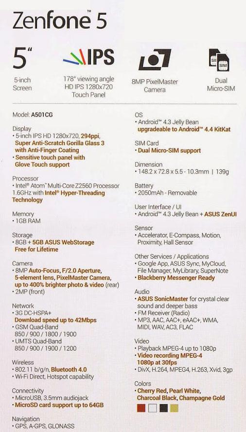 Spesifikasi ASUS ZenFone 5 Smartphone Android Terbaik