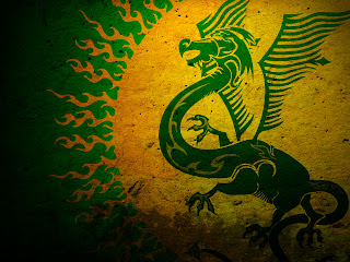 Green Dragon Logo on Wall Texture HD Wallpaper