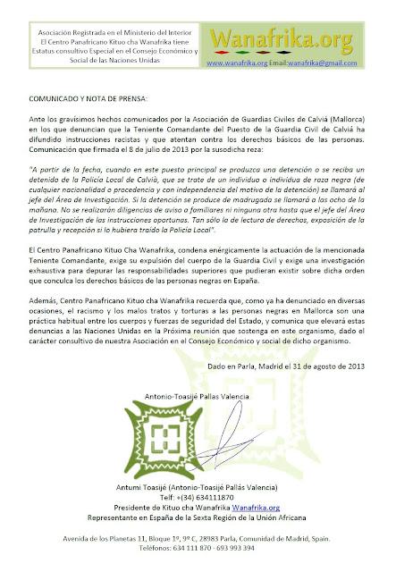 Centro Panafricano Kituo cha Wanafrika condena racismo de la Teniente Comandante del Puesto de la Guardia Civil de Calviá en Mallorca