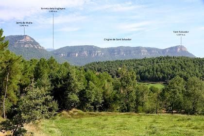 Panoràmica vers el nord des de la zona del Bosc de la Casa Gran. Veiem la Serra de Malla i els Cingles de Sant Salvador. Entremig treuen el cap els Rasos de Peguera representats per la Torreta dels Enginyers