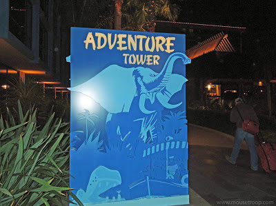 Disneyland Hotel Adventure Tower elephant blue sign entry