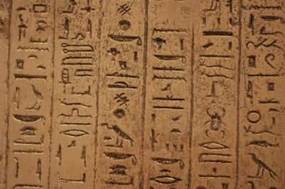 A stone slab of hieroglyphics in William Bankes' Egyptian collections at Kingston Lacy