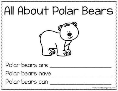 Time 4 Kindergarten: Freebie All About Polar Bears Writing