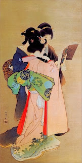 illustration of woman reading by japanese artist uemura shoen