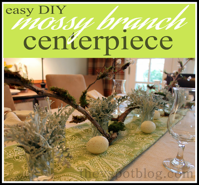 spring table, centerpiece, mossy branch, Easter, green, white