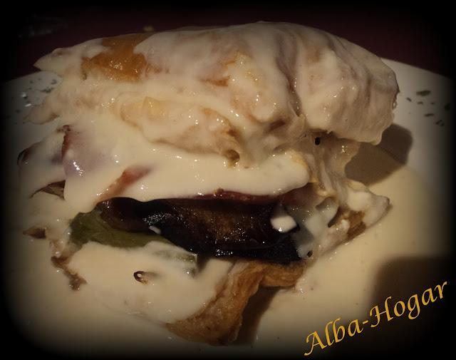milhojas de verduras jamón foie y salsa de yogur alba hogar
