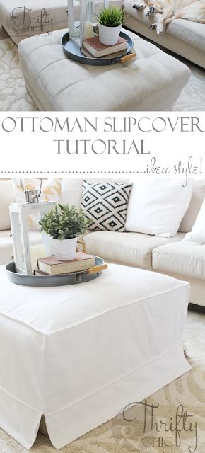 DIY ottoman slipcover...can easily do to a coffee table too