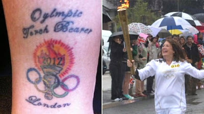 Two images, one of tattoo spelling Olympic wrong and picture of woman holding Olympic torch