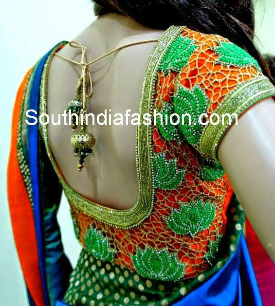 cut work blouse for silk sarees
