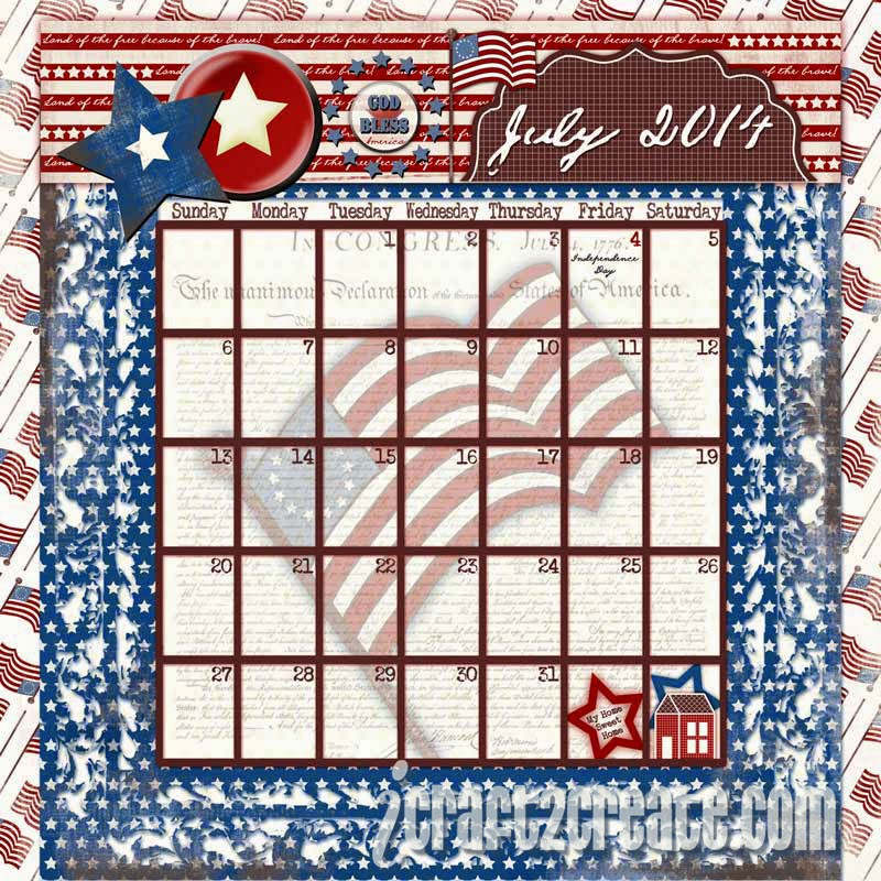 Jessica Sprague, Lettering Delights, Photoshop, summer, calendar, digital, Snap Click Supply Co, Carina Gardner, patriotic