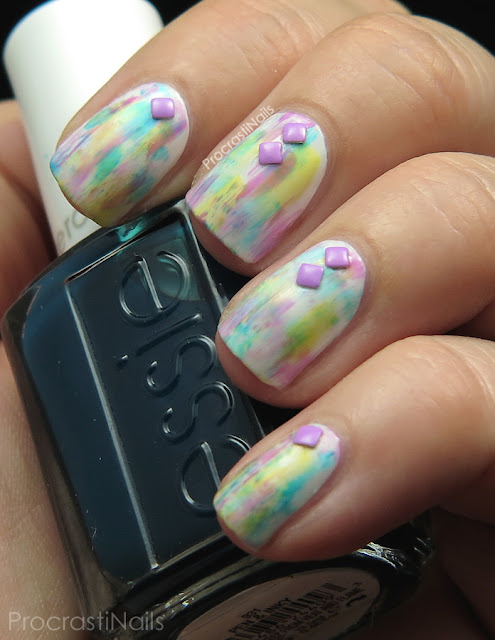 Dry brush nail art with Essie Muse, Myself, Pen & Inky and Highest Bidder