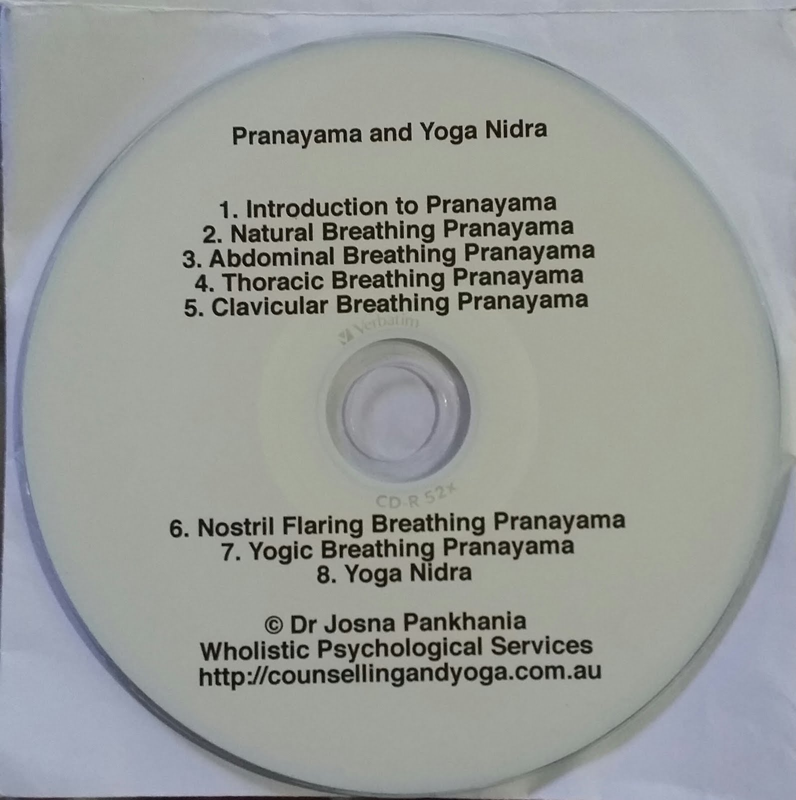 Audio CD @$15  For Pranayama and Yoga Nidra by Dr.Josna Pankhania