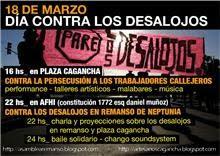 viernes 18 de marzo jornada contra los desalojos en remanso de Neptunia y de Plaza Cagancha