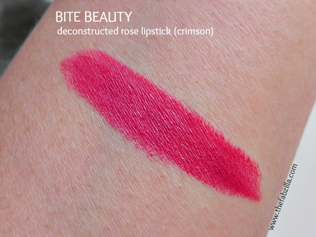 swatch, review, bite beauty, deconstructed rose lipstick crimson