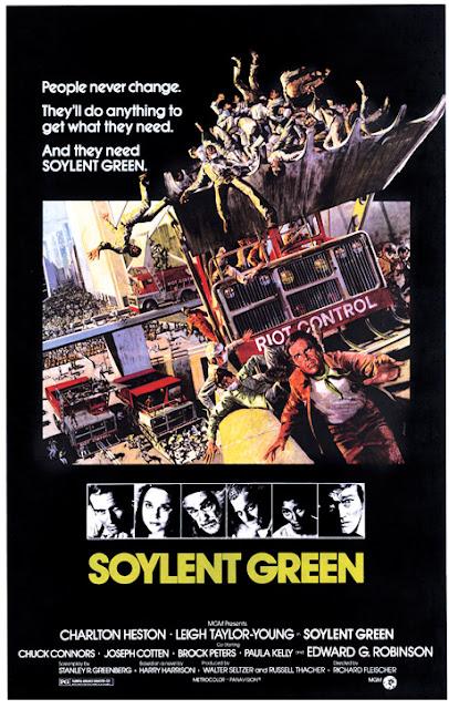 """Плакат фильма-антиутопии """"Зеленый сойлент"""" (Soylent Green), 1973."""