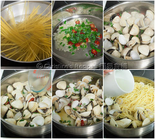 香草蜆意粉製作圖 Spaghetti with Clams Procedures