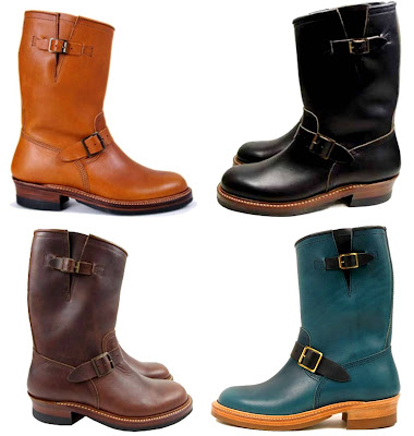 John Lofgren & Co. Engineer Boots in Black Horween CXL, Brown Horween CXL, Cognac and Ortensia/Navy