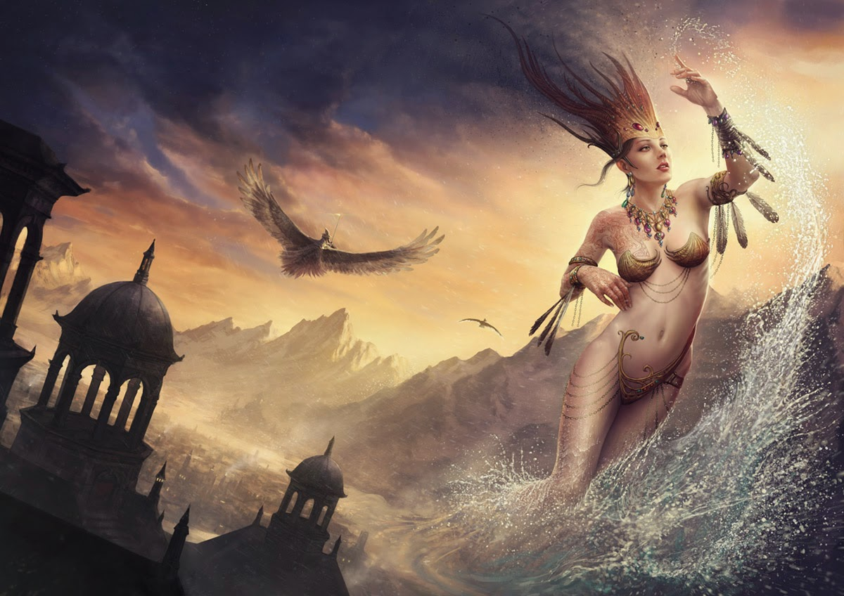 illustration de Martin de Diego Sádaba représentant un femme sortant de la mer avec un oiseau dans le ciel