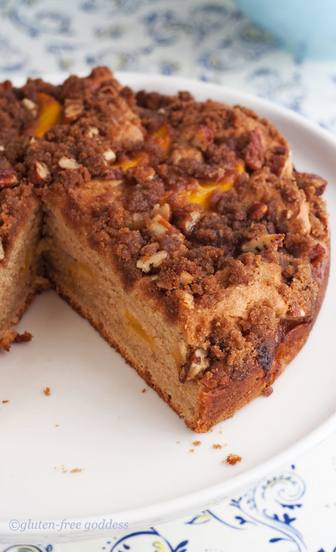 Gluten-free peach coffee cake recipe from gluten free goddess
