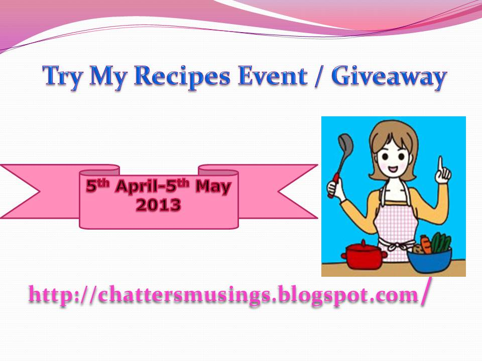 Try My recipe  and Giveaway