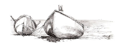 boat cross hatching drawing