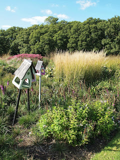 Sussex Prairies Garden. Amazing flowers and good example of garden design. Bird boxes and feeders