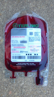 a blood bag filled with fake blood