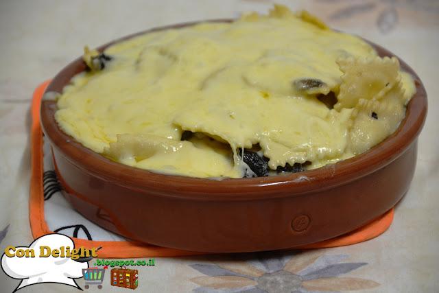 רביולי גבינות פטריות בשמנת - Ravioli and mushroom in cream