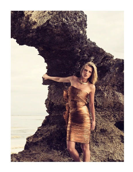Lanvin 2014 SS Shimmering Metallic Copper Lamé Strapless Mini Dress