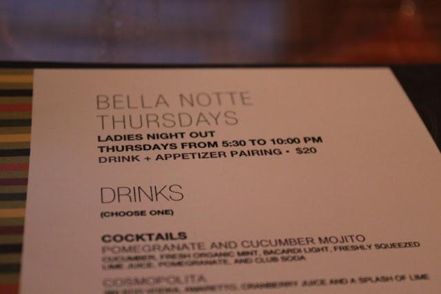 Bella Notte menu at Aragosta Bar + Bistro, Boston, Mass.