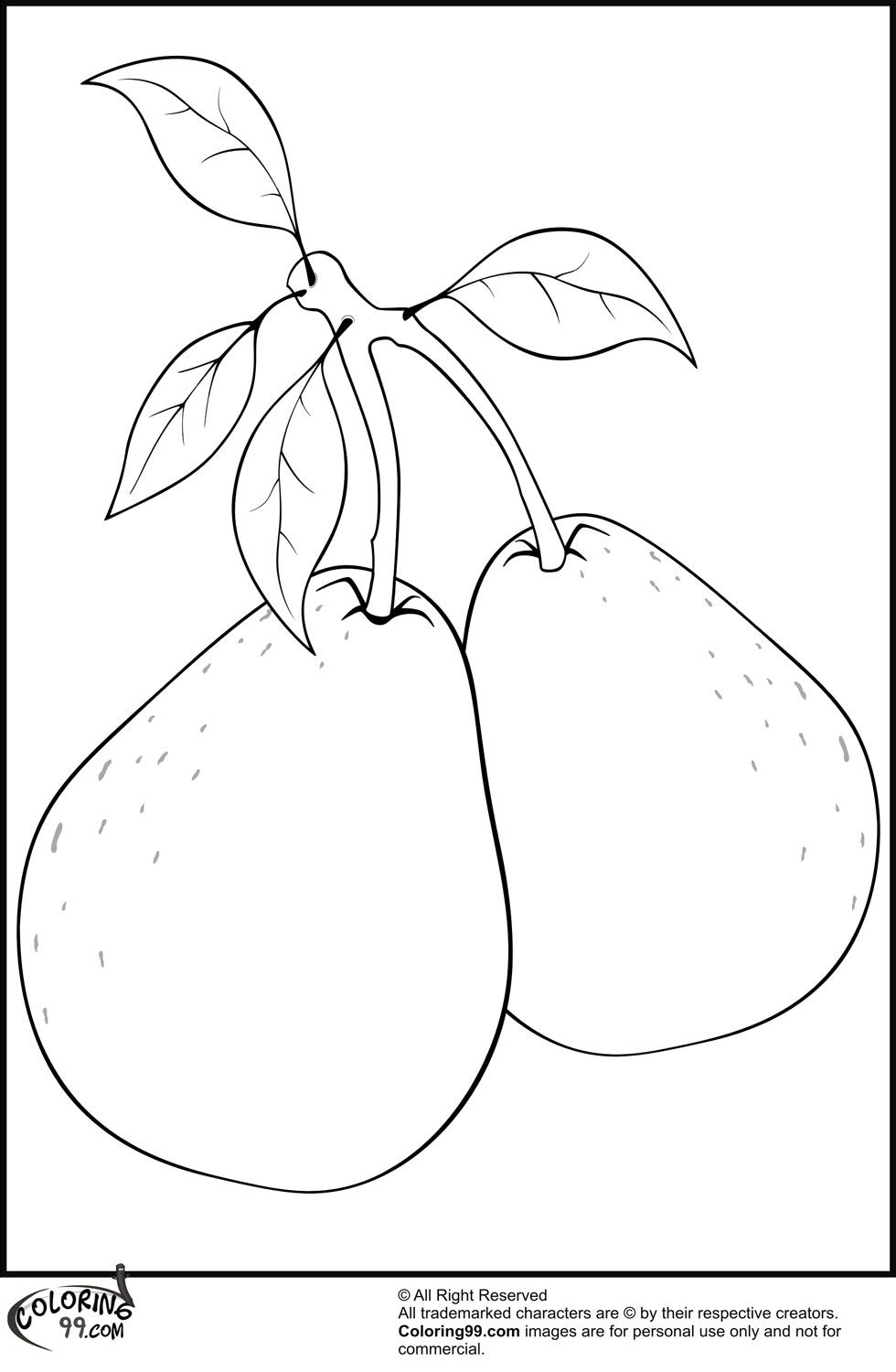 Pear Coloring Sheet Coloring Pages Pear Coloring Page