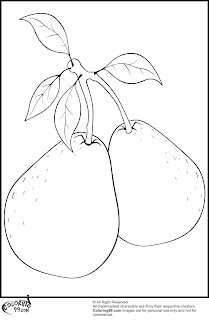 pears with leafs coloring pages