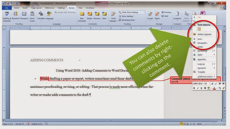how to change formatting on comments in word