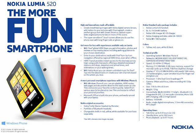 DataSheet Nokia Lumia 520