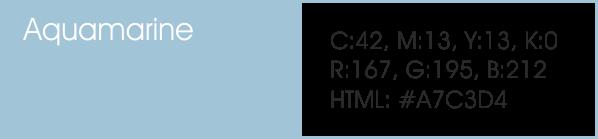 Aquamarine y sus códigos cmyk, rgb, html