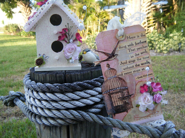 Shabby Chic Altered Birdhouse and Tag