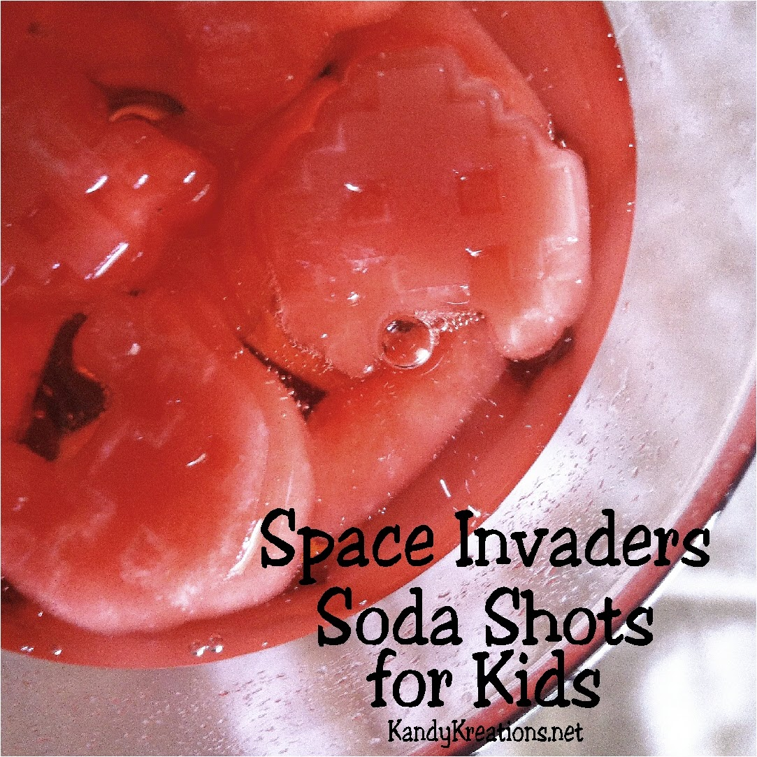 Let your little guests fire away at the Space Invaders at their next arcade or video game party with this deliciously, easy Soda shot.  Filled with Koolaid ice cubes and 7-up it is perfect for downing the bad guys and filling up.