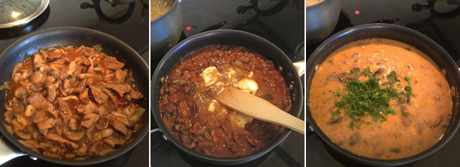 Image shows the three steps to sauteing Beef Stroganoff