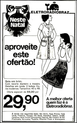 Eletroradiobraz, moda feminina anos 70,  Moda anos 70; propaganda anos 70; história da década de 70; reclames anos 70; brazil in the 70s; Oswaldo Hernandez